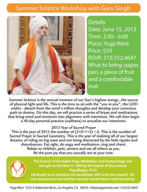 Summer Solstice Workshop with Guru Singh