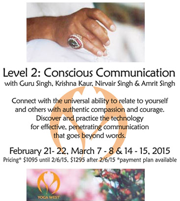 Level 2: Conscious Communication Teacher Training at Yoga West LA Feb 21-22, Mar 7-8 and 14_15 2015