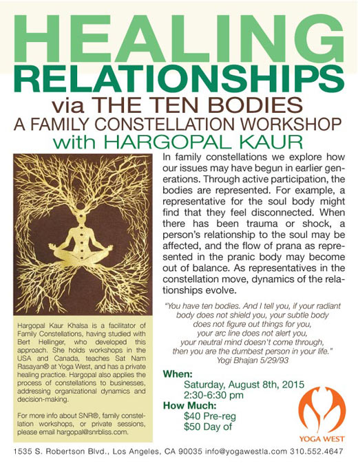 Healing Relationships with Hargopal Kaur - Sat, Aug 8, 2:30-6:30 pm