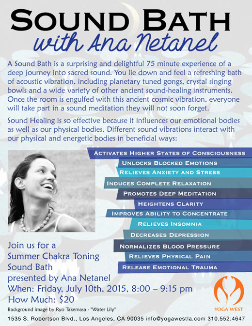 Sound Bath with Ana Netanel - Friday, July 10, 8-9:15 pm