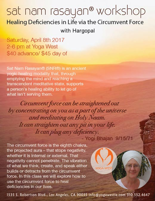 Sat Nam Rasayan® Workshop with Hargopal  Saturday, April 8, 2:00 - 6:00 pm