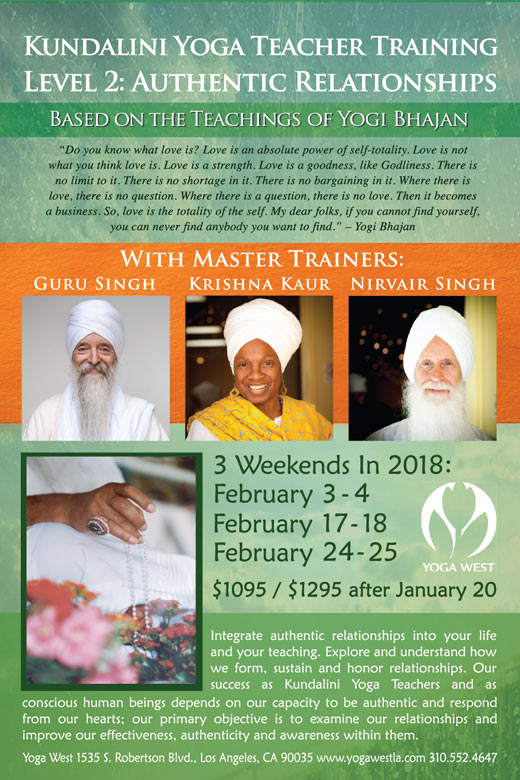 Kundalini Yoga Teacher Training Level2: Authentic Relationships 3 weekends in 2018